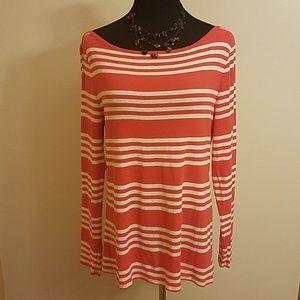 Old Navy Orange and White Stripe Shirt